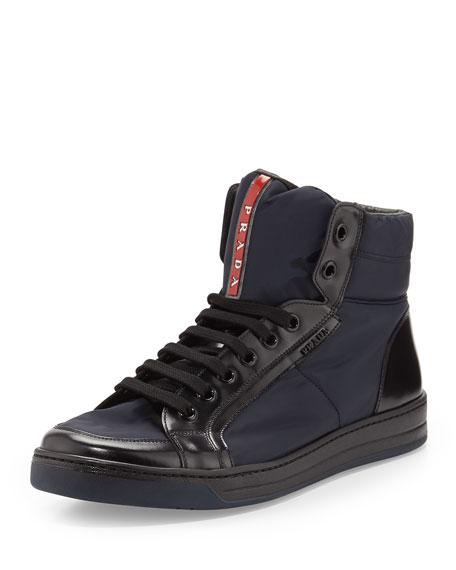 prada nylon leather high top sneaker blue black. Black Bedroom Furniture Sets. Home Design Ideas