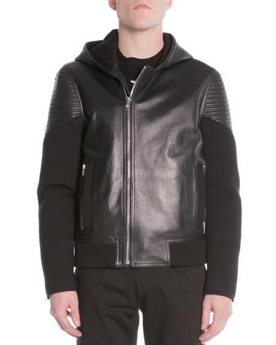 Mixed Media Moto Jacket, Black