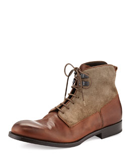 Alexander McQueen Mixed Media Derby Boot, Taupe
