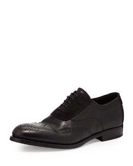 Alexander McQueen Suede/Leather Brogue Oxford, Black