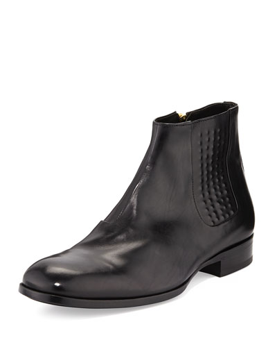 Alexander McQueen Riveted Leather Chelsea Boot, Black