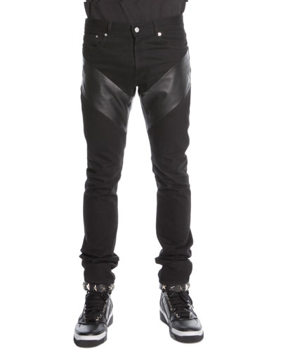 Givenchy Leather-Panel Denim Jeans, Black