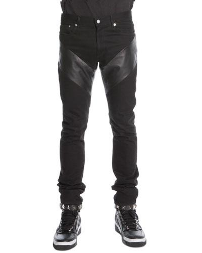 Givenchy Leather-Panel Denim Jeans, Black