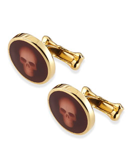 Alexander McQueen Skull-Under-Glass Cuff Links, Burgundy