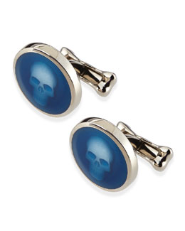 Alexander McQueen Skull-Under-Glass Cuff Links, Blue