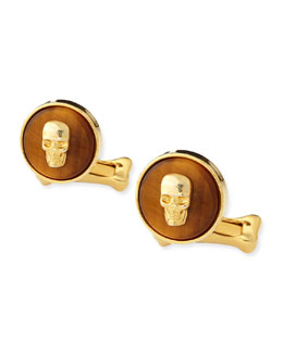 Alexander McQueen Skull-On-Stone Cuff Links, Brown