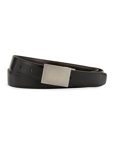 Multi-Buckle Reversible Leather Belt, Black/Brown