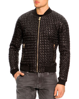 Dolce & Gabbana Ruched Nylon Bomber Jacket, Black