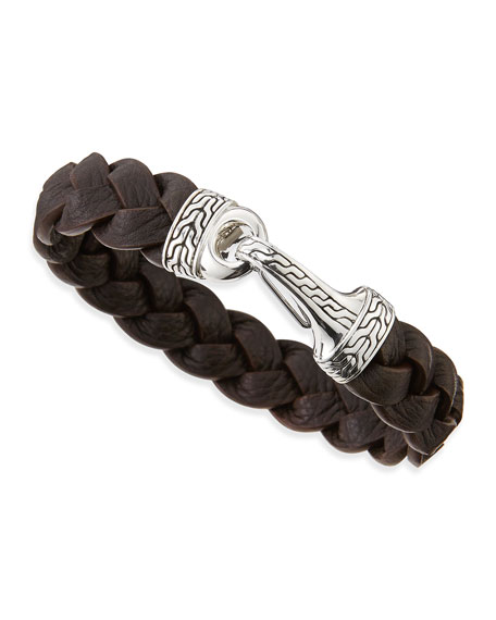Men's Classic Chain Leather Hook Bracelet, Brown