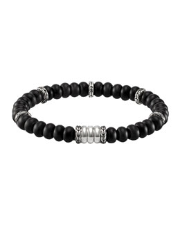 John Hardy Men's Batu Bedeg Beaded Bracelet, Black/Silver