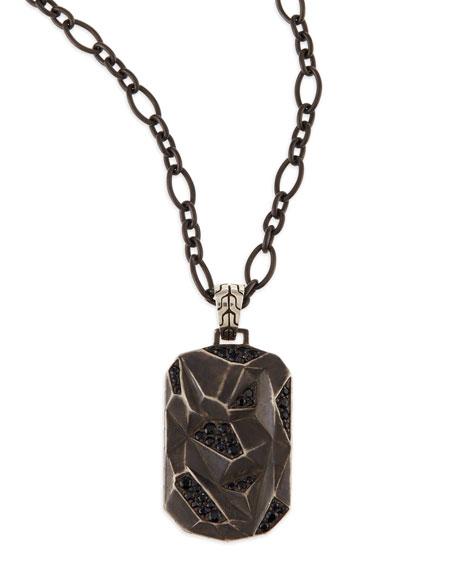 Men's Classic Chain Lava Dog Tag Chain Necklace, Silver