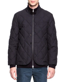 Maison Martin Margiela Quilted Wool Layer-Illusion Jacket, Navy