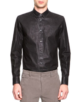 Maison Martin Margiela Coated Poplin Button-Down Shirt, Dark Gray