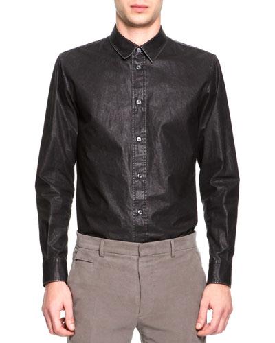 Maison Martin Margiela Coated Poplin Button-Down Shirt, Dark Gray