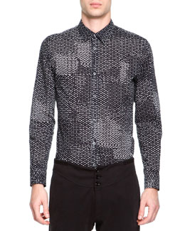Maison Martin Margiela Printed Button-Down Shirt, Black/White