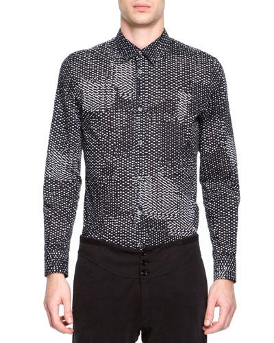 Maison Martin Margiela Printed Button-Down Shirt, Black/White