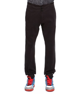 Maison Martin Margiela Jersey Button-Front Sweatpants, Black