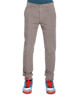 Maison Martin Margiela Slim Fit Moleskin Pants, Light Gray