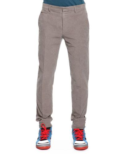 Maison Martin Margiela Slim Fit Moleskin Pants, Light Gray