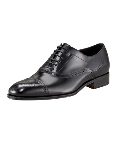Salvatore Ferragamo Caesy Cap-Toe Oxford, Black