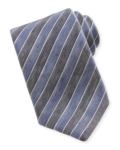 Woven Bicolor-Stripe Silk Tie, Denim