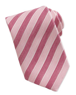 Massimo Bizzocchi Woven Striped-Pattern Silk Tie, Red