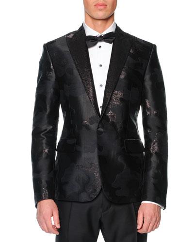 Dsquared2 Beverly Hills Camo-Jacquard Tuxedo Jacket