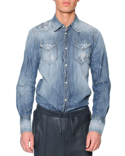 Dsquared2 Distressed Denim Shirt, Blue