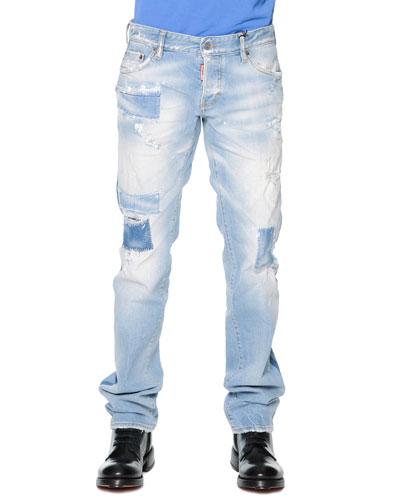 Destroyed Slim-Cut Denim Jeans, Light Blue