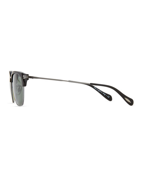 Banks Half-Rim Sunglasses, Black