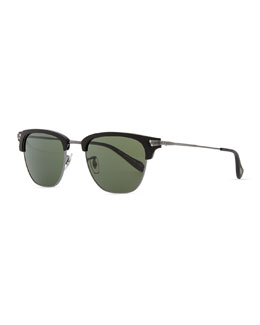 Oliver Peoples Banks Half-Rim Sunglasses, Black