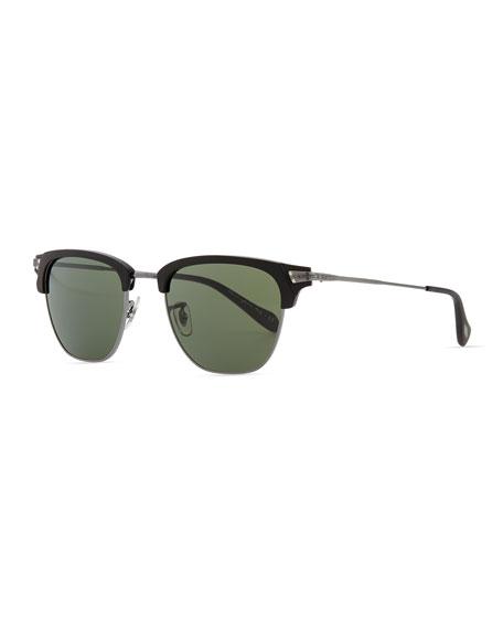 Oliver Peoples Banks Half-Rim Sunglasses, Black