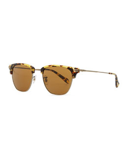 Oliver Peoples Men's Banks Half-Rim Sunglasses, Dark Brown