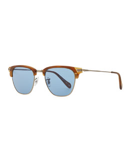 Oliver Peoples Men's Banks Half-Rim Sunglasses, Turquoise