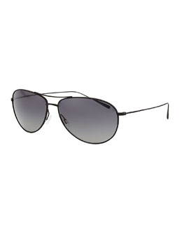 Oliver Peoples Tavener 61 Polarized Aviator Sunglasses, Black