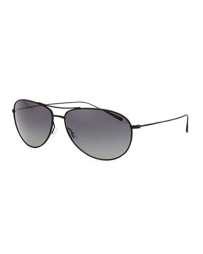 Oliver Peoples Tavener 61 Polarized Aviator Sunglasses, Black