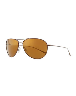 Oliver Peoples Tavener 61 Mirrored Sunglasses, Light Brown