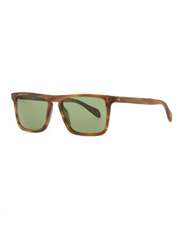 Oliver Peoples Bernardo Rectangular Sunglasses, Matte Sandalwood