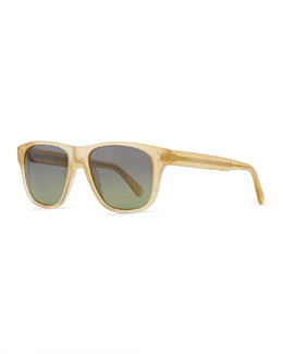 Oliver Peoples DBS Polarized Square Frame Sunglasses, Beige