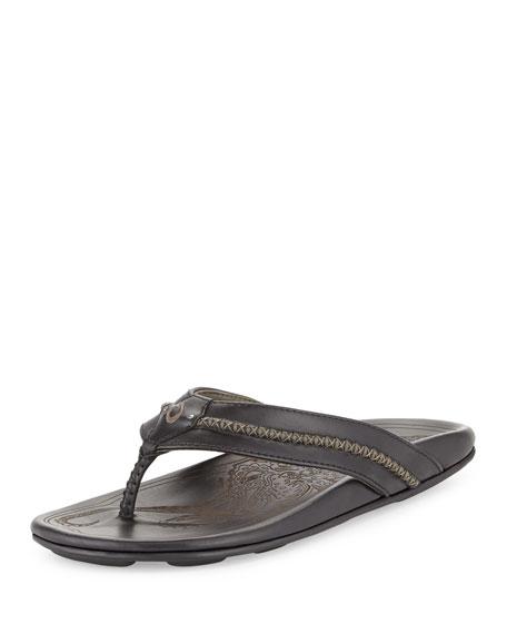 Olukai Mea Ola Men's Thong Sandal, Black