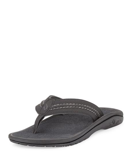 Olukai Hokua Men's Thong Sandal, Black/Gray