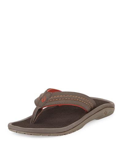 Olukai Hokua Men's Thong Sandal, Dark Java