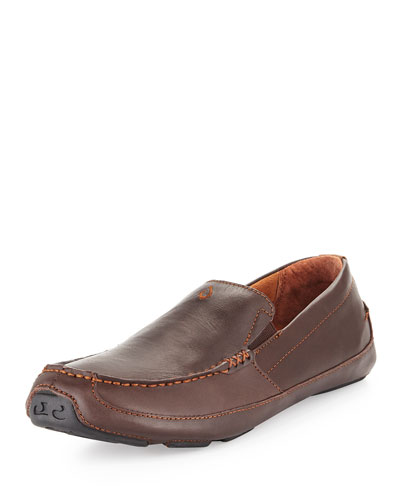 Akepa Moc Leather Loafer, Chocolate