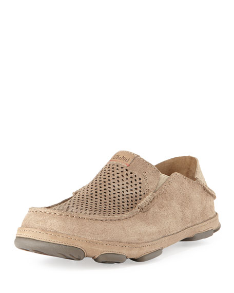 Olukai Moloa Kohana Perforated Suede Slip-On/Fold-Back Shoe, Clay