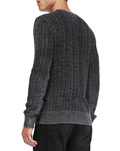 V-Neck Cable-Knit Sweater, Black