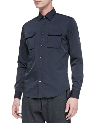 Vince Tech Two-Pocket Shirt, Blue/Gray