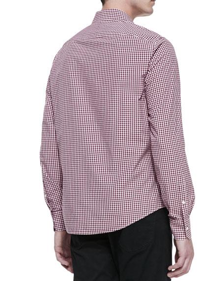 Long-Sleeve Gingham Shirt, Red