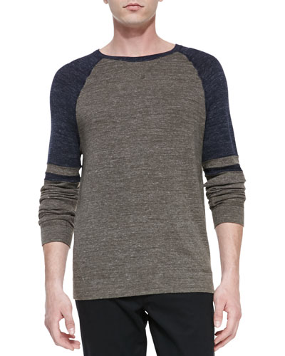 Vince Crewneck Colorblock Raglan Sweater
