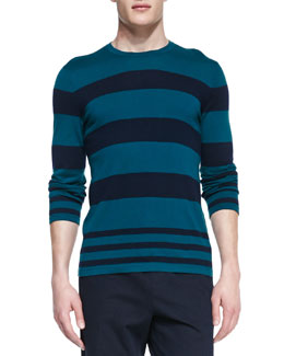 Vince Striped Crewneck Sweater, Green/Navy