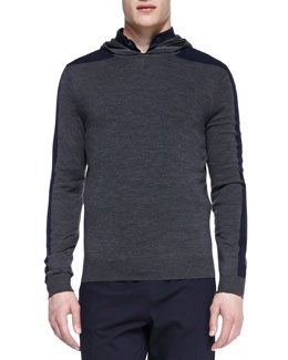 Vince Racing-Stripe Hooded Pullover, Gray